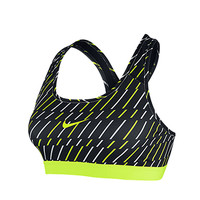 Nike Nike Pro Bra Black Volt Print - Womens Clothing