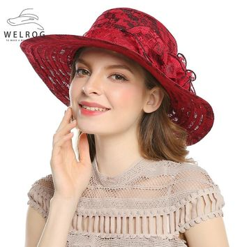 WELROG Summer Sun Cap for Women Outdoor Casual Beach Hat Lace Flower Headwear Vacation Hats Ladies Wide Brim Bucket Caps Chapeau