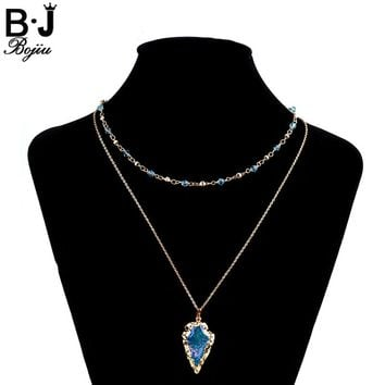 BOJIU Trendy Women Necklace Arrowhead Pendant Necklaces Bohemia Girl Colourful Crystal Two Layers Natural Stone Chokers NKS018