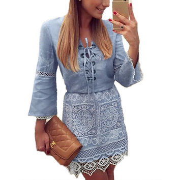 summer fairy tale denim lace embroidery blusa vestidos peplum dress V-neck women flare sleeve sexy sweet patchwork A line dress