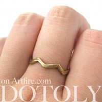 Zig Zag Band Ring in Bronze - Sizes 6 and 6.5 Available