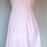 Vintage pink and white lace cotton slip night gown medium large