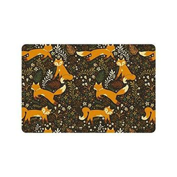 "Autumn Fall welcome door mat doormat Forest Friends Flowers And Fox   Rugs for Home/Office/Bedroom Rubber Non Slip 23.6""(L) x 15.7""(W) AT_76_7"