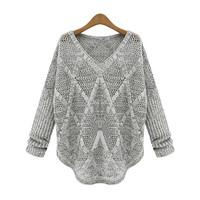 Autumn/Winter Women Loose Sweaters Batwing Sleeve Hollow Out Knitted Outerwear Brand Desige Celebrity Womens Pullovers