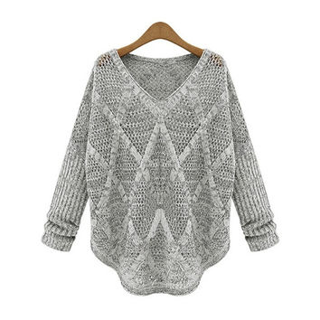 Autumn/Winter Women Loose Sweaters Batwing Sleeve Hollow Out Knitted Outerwear Brand Desige Celebrity Womens Pullovers = 1946526916