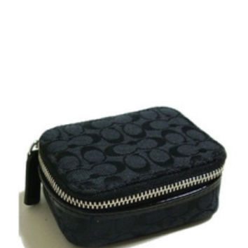 "Coach Coach SIGNATURE ""C"" Triple Pill Box/Miscellaneous Case in Black - Avenue K"