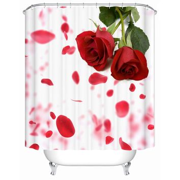 High Quality Bathroom Products Shower Curtains Bathroom Curtain Waterproof Screen Bright Red Roses