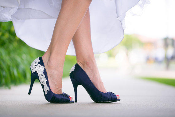 Navy Blue Bridal Shoes With Venise Lace From Walkinonair