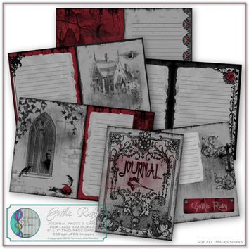 Gothic Ruby Journal, Journal Pages, Journaling Cards, Printable Stationery, Scrapbook Pages,  Paper Craft, Craft Supplies,