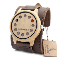 BOBO BIRD A26 Mens Watches Top Brand Luxury Antique Round Bamboo Wooden 12 Holes Quartz Watches With White Real Leather Straps