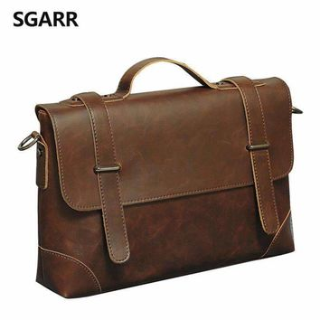 Real Leather Look Laptop Messenger Bag