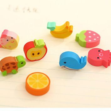 20 pcs/lot Mini Kawaii Animal Pencil Eraser Cute Fruit Rubber Erasers For Kids School Supplies Stationery Free Shipping 2239