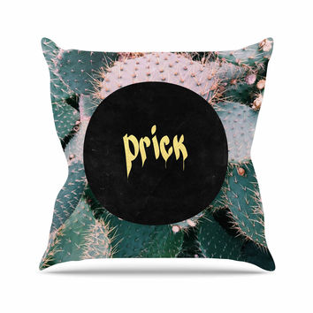 "Chelsea Victoria ""Prick"" Typography Green Throw Pillow"
