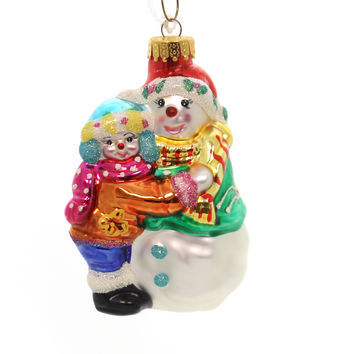 Holiday Ornaments SNOW COUPLE Glass Ornament 1st Christmas Love Ta142