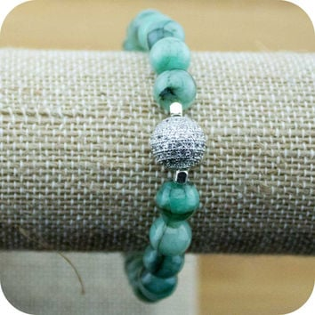 Emerald Yoga Jewelry Bracelet with Cubic Zirconia Pave