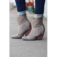 Very Volatile: Khloe Fringe Bootie {Taupe}