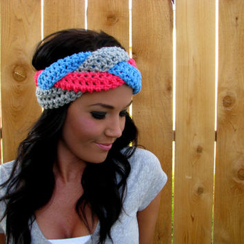 Braided Gray, Coral Pink, Turquoise Blue  Head Wrap Hair Accessory Band Earwarmer Fall Headband Fashion Girl Woman Unisex Boy Men