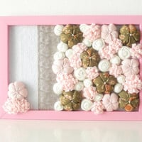 Framed fabric flowers home decoration Nursery ornament - 3D design - pink white olive