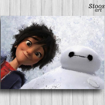 Hiro Hamada and Baymax poster disney wall art baby boy decor