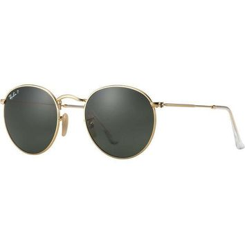 PEAPGE2 Beauty Ticks Ray Ban Round Sunglasses Matte Gold Classic Green G-15 Polarized Rb 3447 112/58