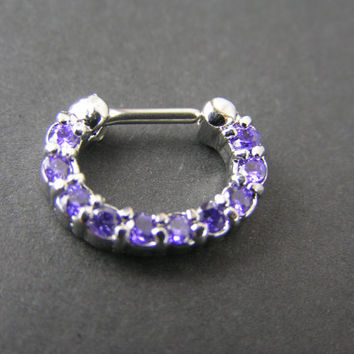 "Tanzanite Septum Clicker Nose Ring Daith Body Piercing Jewelry 16g 6mm 1/4"" Purple Paved Gemstone Single Line gypsy sparkle eclectic tribal"