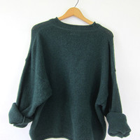 Wool Sweater Dark knit slouchy Pullover Vintage Preppy minimal Basic Jumper Women's size XL Extra Large