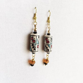 Peruvian Earrings - Peruvian Beaded Earrings - Peruvian Jewelry - Incan Earrings - Incan Jewelry - Peruvian Ceramic Beads - Peru Earrings