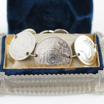 Vintage Coin Bracelet - Sterling Silver Australian Panel Bracelet - 1940s Dated Florin Sixpence Shilling Foreign Currency Statement Jewelry