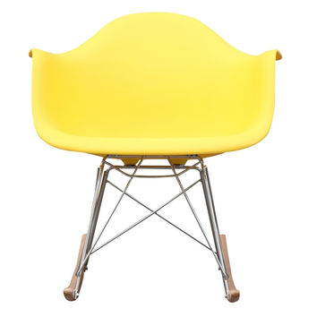 Mid Century Modern Plastic Molded Rocking Chair Yellow
