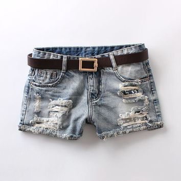 womens mid waist shorts vintage bleached washed button 100% cotton denim