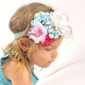 Girls Shabby Fabric Flower Cluster Headband