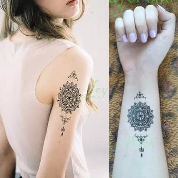 Waterproof Temporary Tattoo mandala classical totem for girl women men henna tatto stickers flash tatoo fake tattoos 4