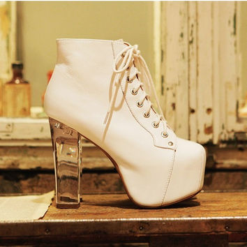 Pop punk Brand Clear Acrylic Ankle Boots