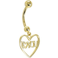 Solid 14KT Yellow Gold I LOVE YOU HEART Belly Ring | Body Candy Body Jewelry