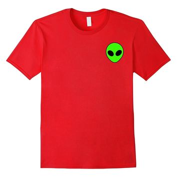Neon Green Alien Head Pocket T Shirt