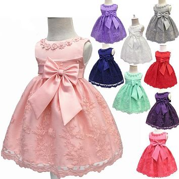 Nicoevaropa Toddler Girls Christening Dresses Children Sleeveless Baptism Ball Gown with Big Bow Baby Kid Birthday Dress Vestido