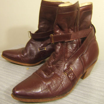 Vintage Leather Boots Burgundy Red Runway Style Couture Giorgio Brutini Size 8 D
