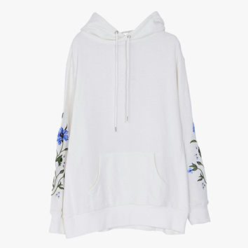White Floral Sleeved Cotton Pullover