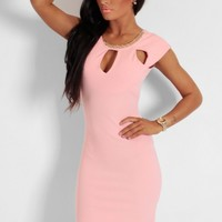 Bucks Fizz Peach Cutout Necklace Mini Dress | Pink Boutique