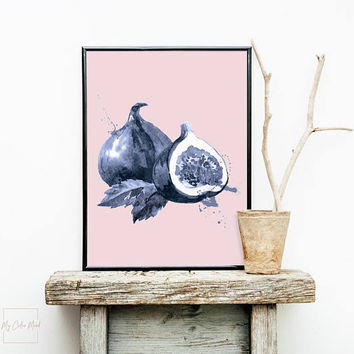 Fig fruit art printable poster, Fig print wall art for kitchen, Dining room wall decor, Dining room art print, Fruit wall art, Large prints