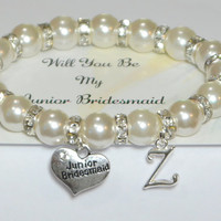 my junior bridesmaid  - ask jr bridesmaid - personalized wedding - bridal party gift - bridesmaid bracelet - handmade bracelet