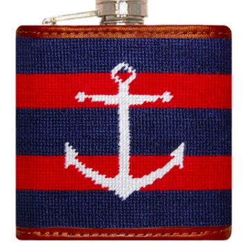 Striped Anchor Needlepoint Flask