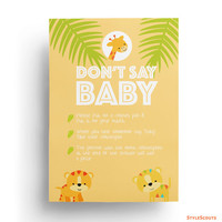 Giraffe Baby Shower Games Printable - Don't Say Baby Clothespin game, Safari baby shower game