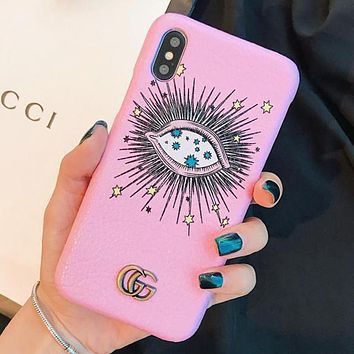 GUCCI New Popular Women Men Personality Leather Blue Eye Pattern Mobile Phone Cover Case For iphone 6 6s 6plus 6s-plus 7 7plus iPhone8 iPhone X Pink I13652-1