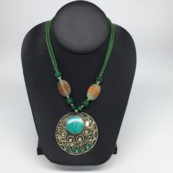 Turkmen Necklace Afghan Ethnic Tribal Turquoise Inlay Beaded Pendant Necklace VS162