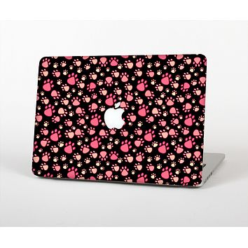 The Pink Paw Prints on Black Skin for the Apple MacBook Air 13""