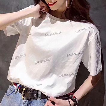 """Balenciaga""Hot Water Drill Letters T-Shirt Top(3-Color) White I12385-1"