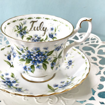 Royal Albert Tea Cup and Saucer, July Flower Birthday Teacup, Tea Cups Vintage, High Tea, Tea Party, English, Blue Teacup, Tea Cup Set