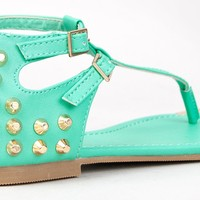 City Classified UNITED Studded T-Strap Gold Tip Flat Sandal Shoe