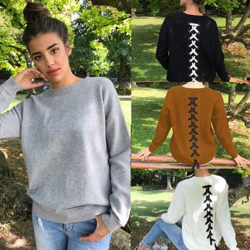 Lace Up Back Sweater (Black, Gray, White, Brown)
